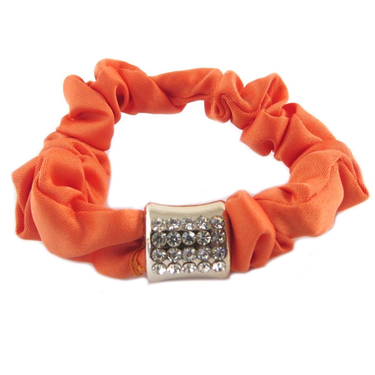 Chouchou créateur \'Sissi\' orange (satin) - largeur 1 cm - [Q0106]
