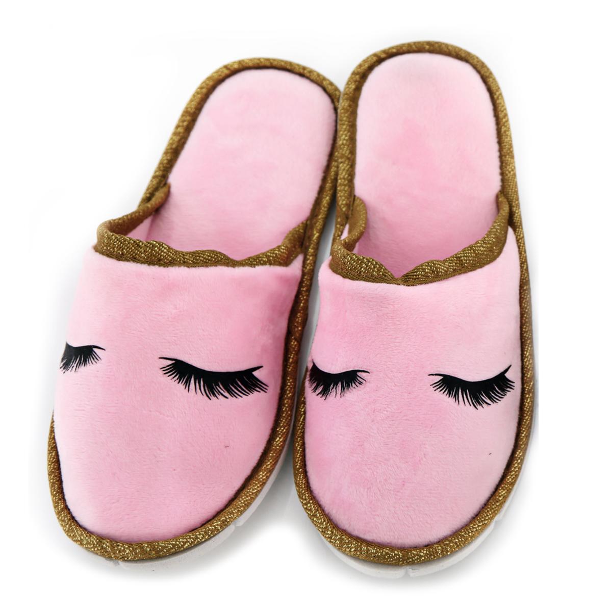 Chausson pantoufles \'Diva - Yeux Endormis\' rose - taille S (34/37) - [A0050]