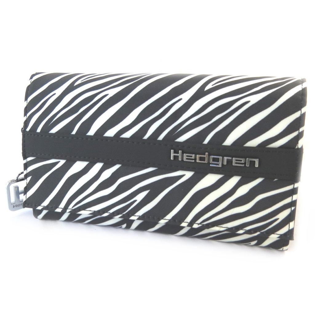 Portefeuille toile \'Hedgren\' noir blanc (zèbre) - [N7780]