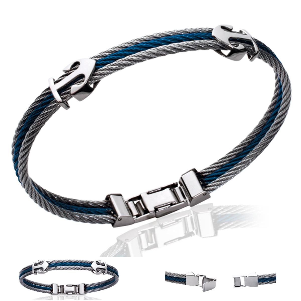 Bracelet Acier \'Ancre Marine\' marine argenté - [P6873]