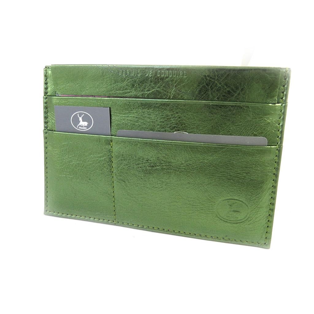 Porte Papiers de voiture Cuir \'Frandi\' vert métal (ultra plat) - [L8756]