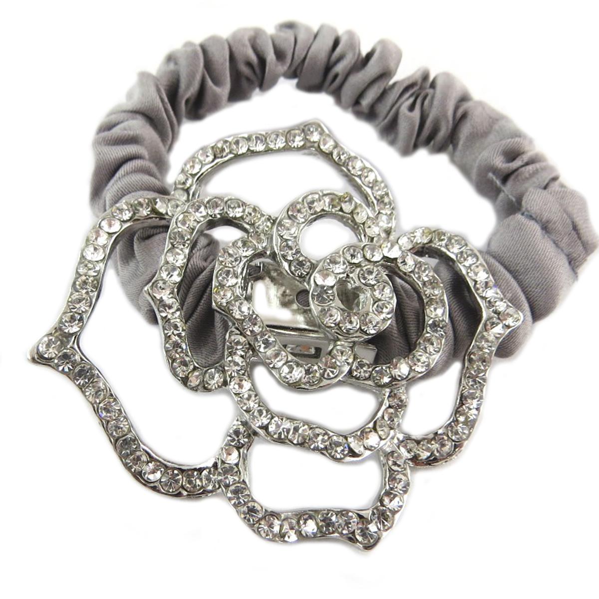 Chouchou créateur \'Sissi\' gris argenté (satin) - largeur 1 cm, fleur 45x4 cm - [Q0111]