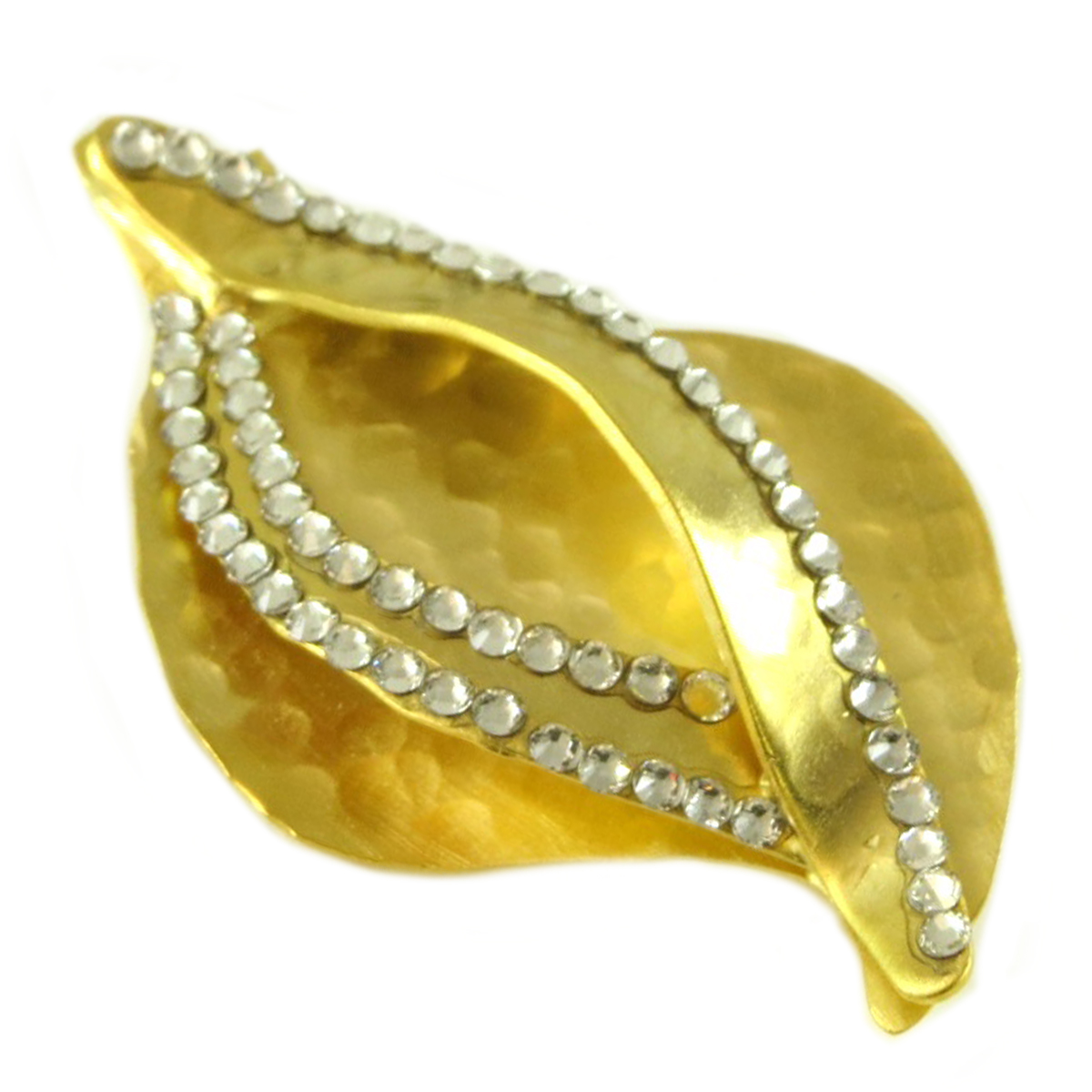 Broche artisanale \'Athena\' blanc doré  - 45x25 mm - [Q7844]