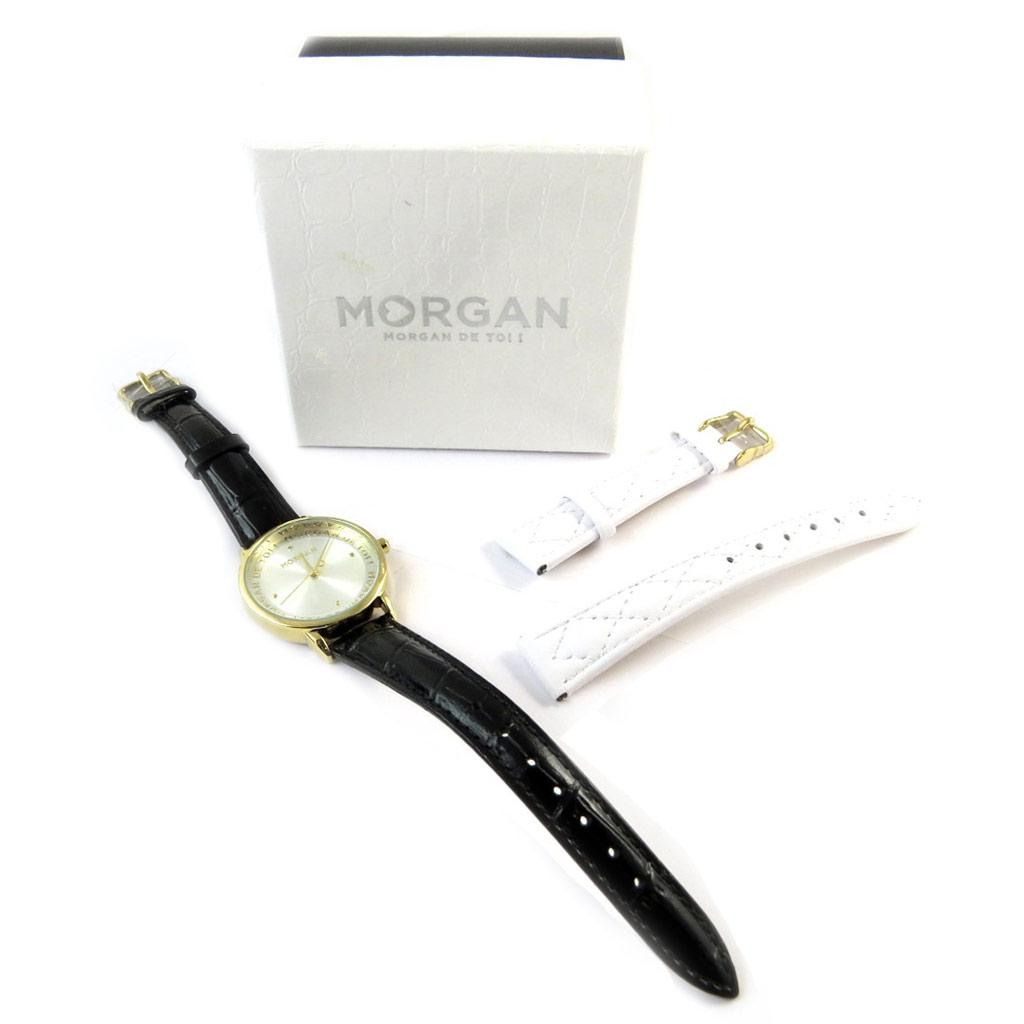 Coffret montre + bracelet \'Morgan\' noir blanc doré - [N9869]