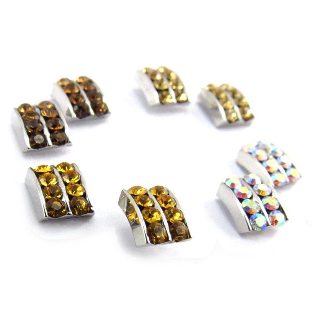 4 paires de boucles \'Sissi\' ambre blanc (Swarovski) - [J6263]