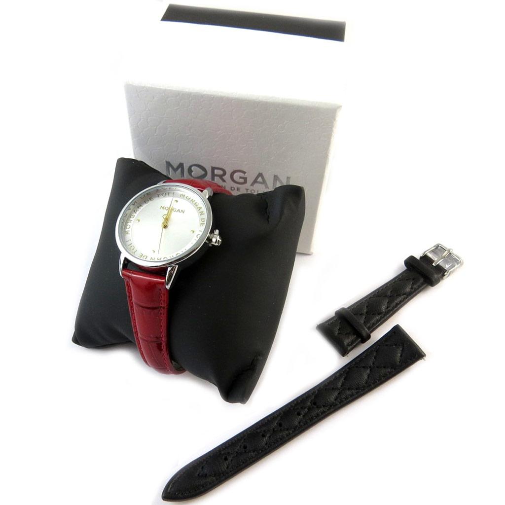 Coffret montre + bracelet \'Morgan\' noir rouge argenté - [N9870]