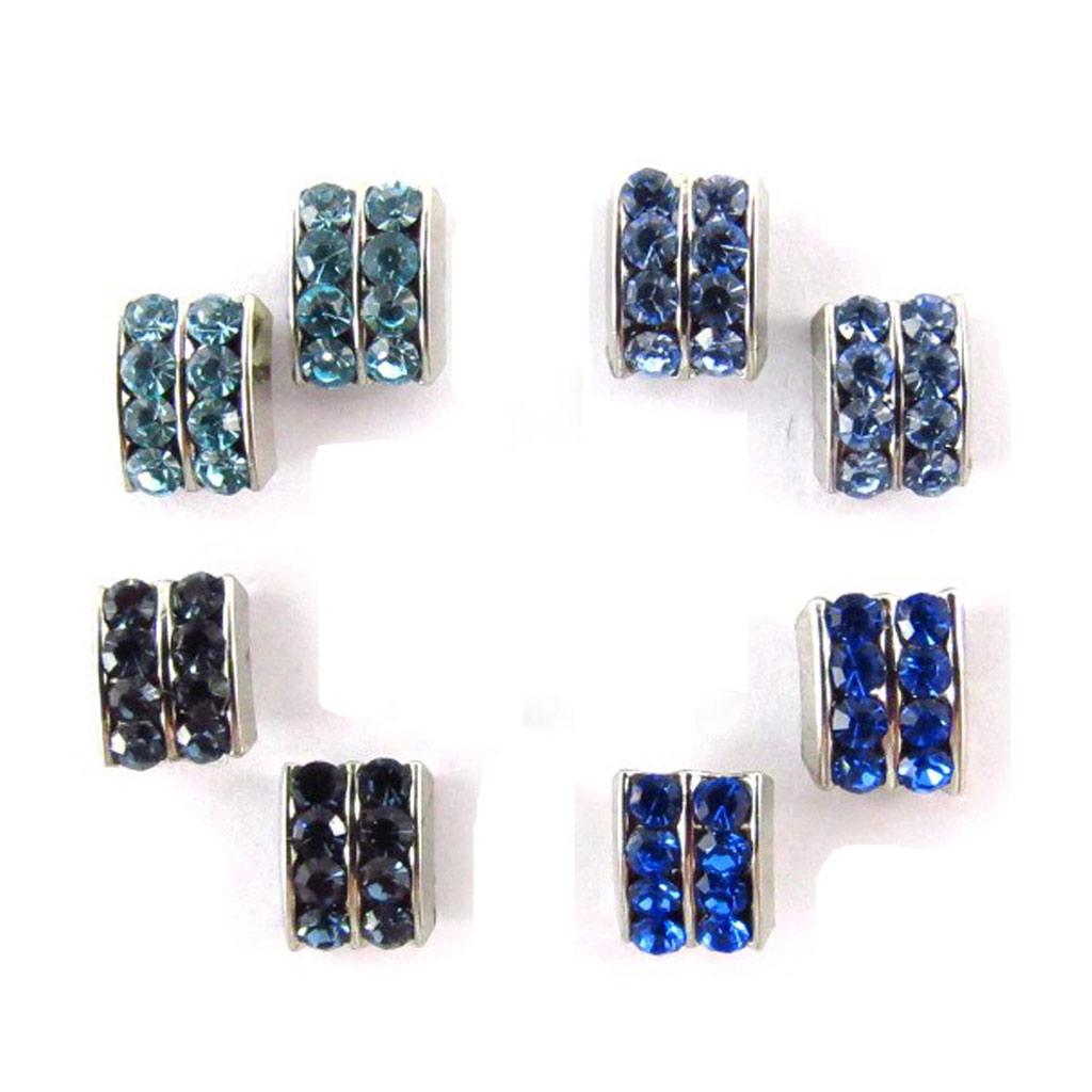 4 paires de boucles \'Sissi\' bleu (Swarovski) - [J6264]