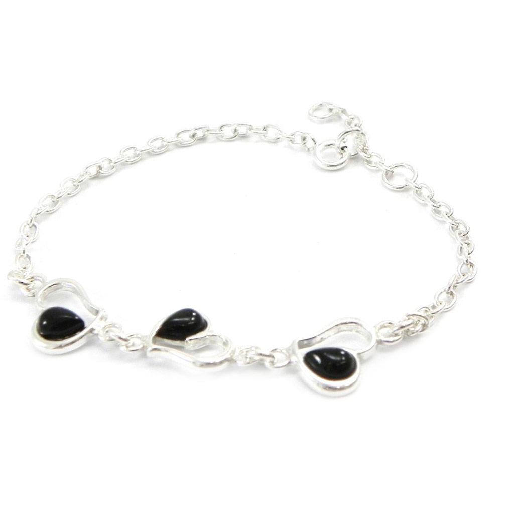 Bracelet Argent \'Déesse Noir de Jais\' coeur - [I2619]