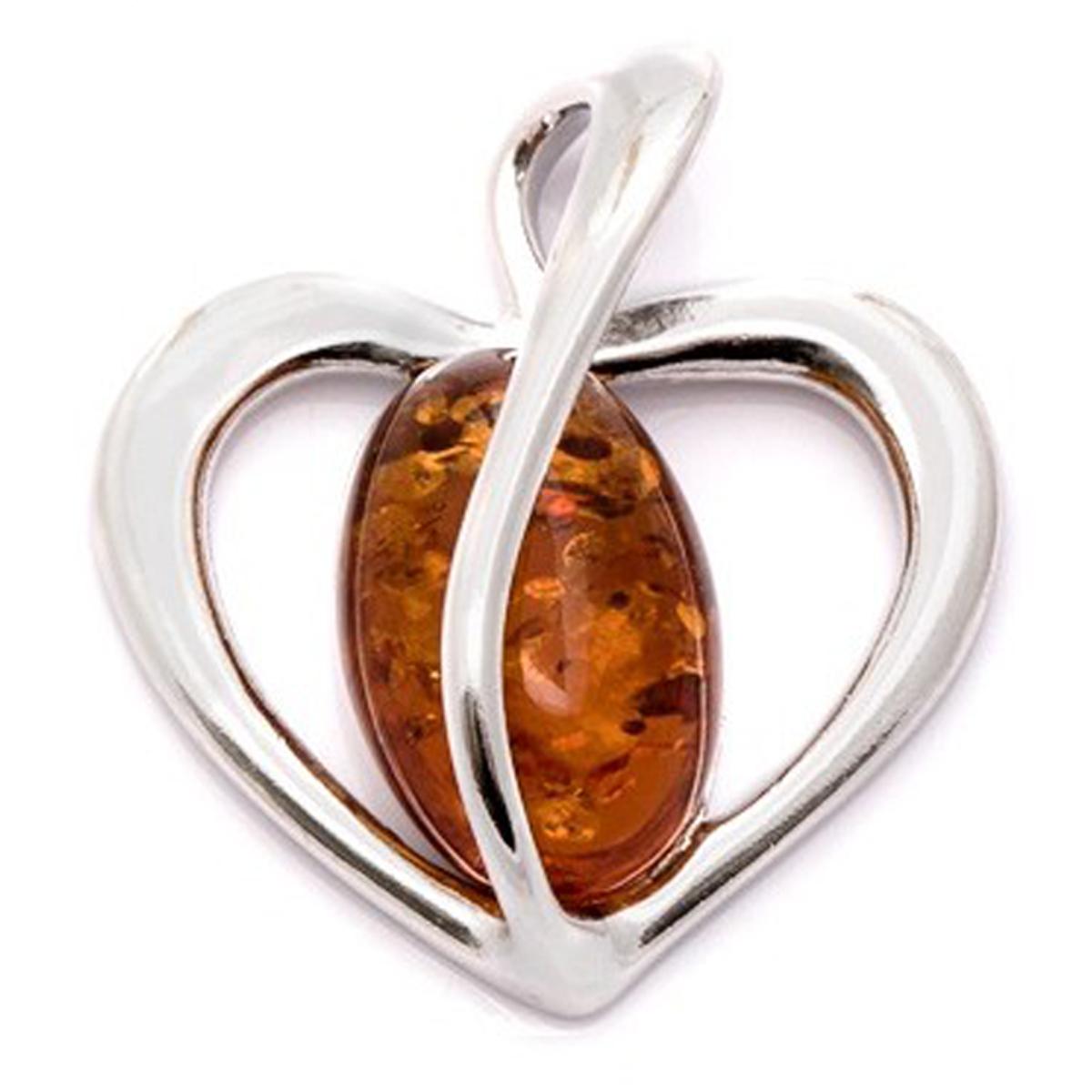 Pendentif Argent \'Love\' ambre cognac (rhodié) - 20x19 mm - [Q1819]