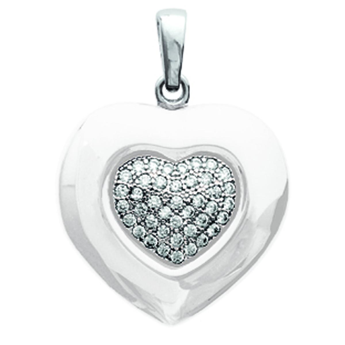 Pendentif Argent \'Love\' blanc argenté rhodié (céramique) - 19x17 mm - [M8824]