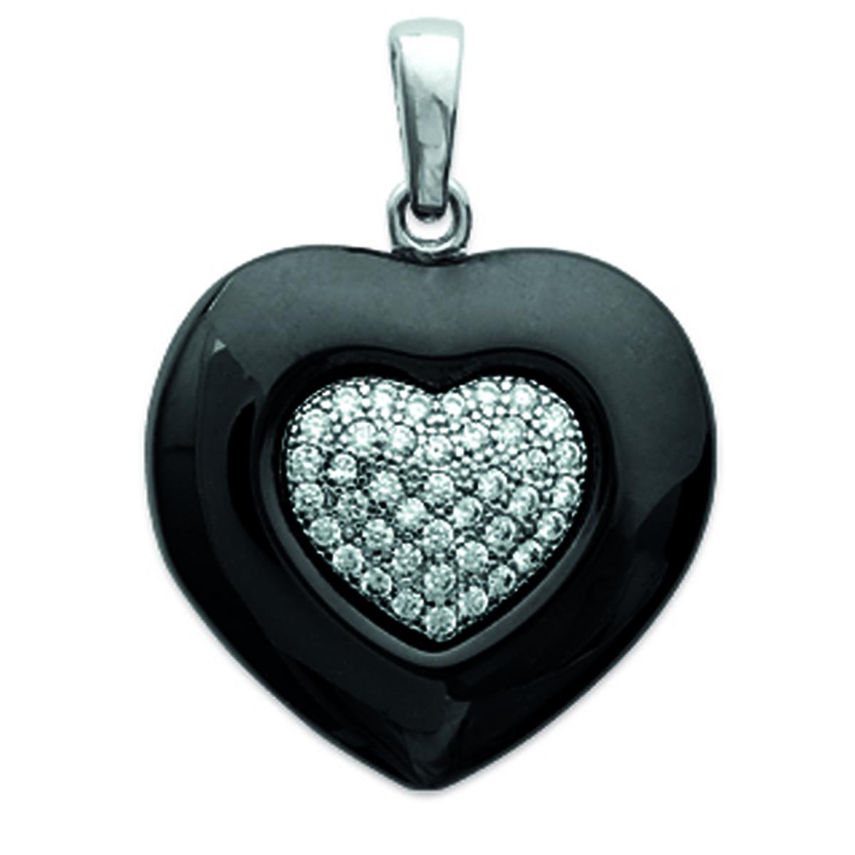 Pendentif Argent \'Love\' noir argenté (céramique) - 19x17 mm - [M8825]