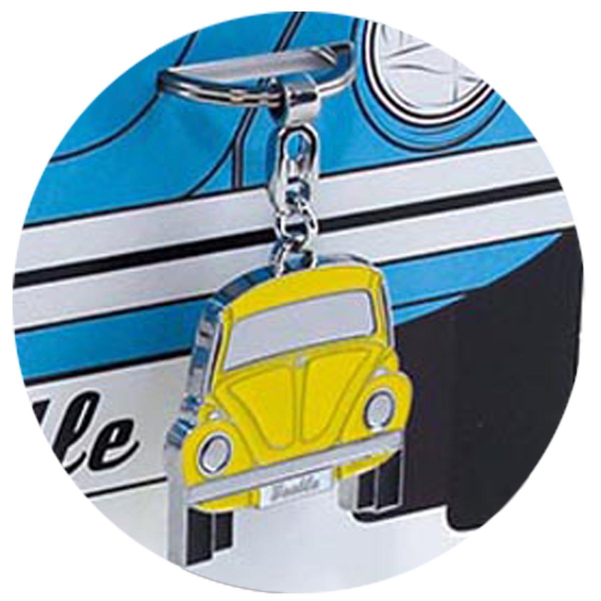 Porte-clés créateur \'Volkswagen\' jaune argenté (coccinelle) - 10x4 cm - [R0579]