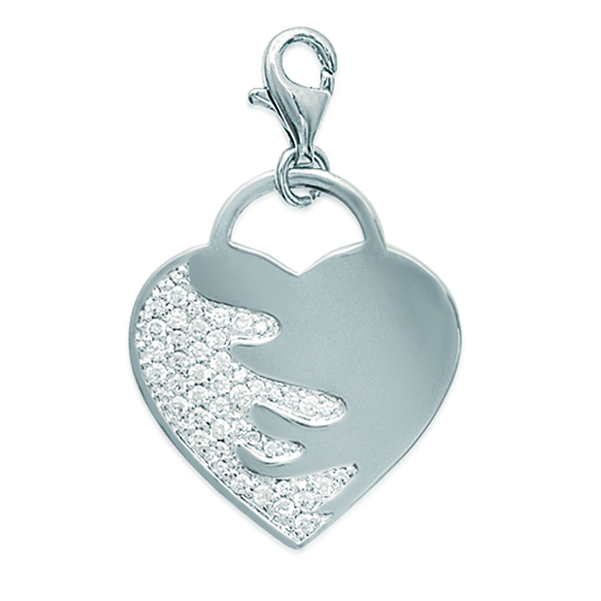 Pendentif Argent Charm \'Love Sublime\' Blanc argenté (rhodié) - 25x25 mm - [E0964]