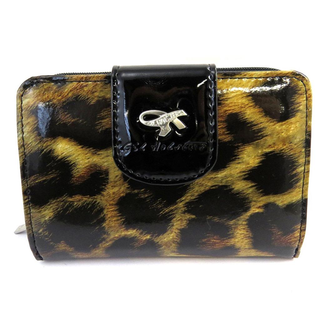 Portefeuille zippé \'Gil Holsters\' marron léopard vernis - [M2547]