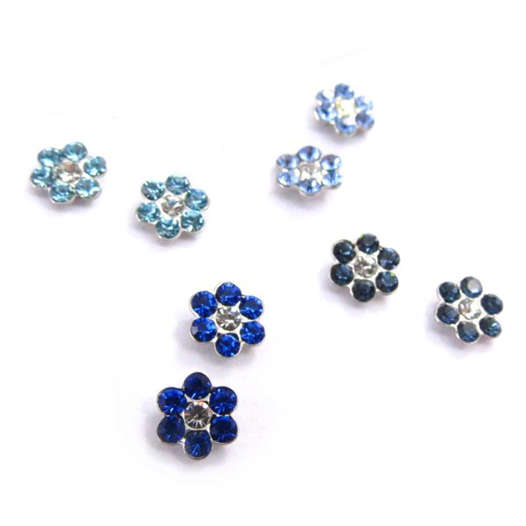 4 paires de boucles \'Sissi\' bleu (Swarovski) - [J6269]