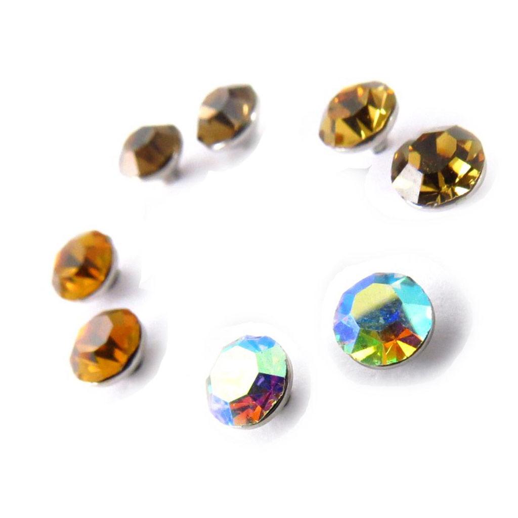 4 paires de boucles \'Oeil de Cristal\' ambre blanc  5 mm (Swarovski) - [J6274]