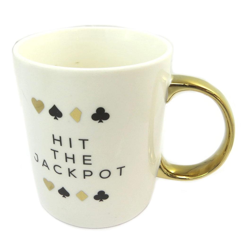 Mug porcelaine \'Monte-Carlo\' ivoire doré (Hit the Jackpot) - 115x95 cm - [P5215]
