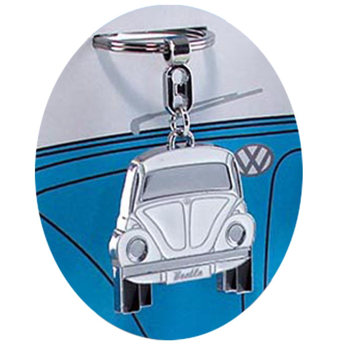 Porte-clés créateur \'Volkswagen\' blanc (coccinelle) - 10x4 cm - [R0582]