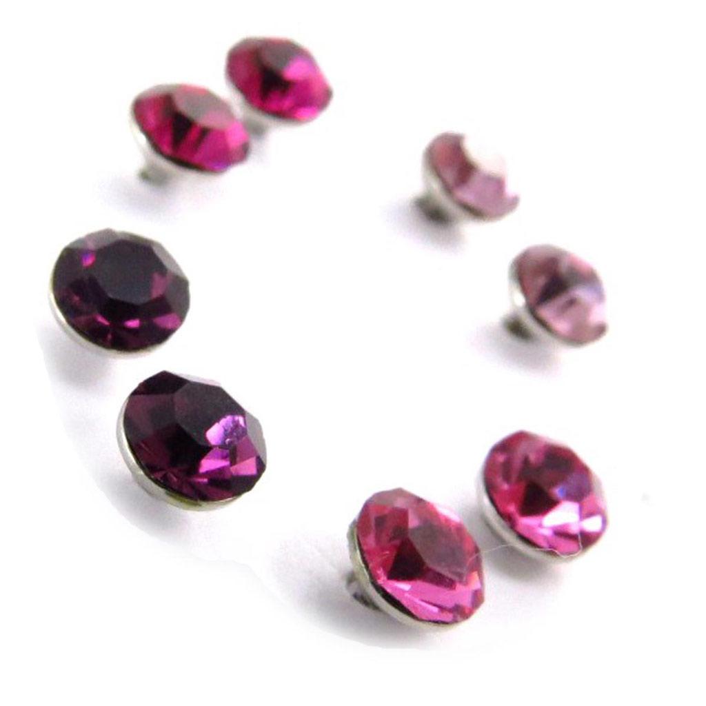 4 paires de boucles \'Oeil de Cristal\' rose violet  5 mm (Swarovski) - [J6277]