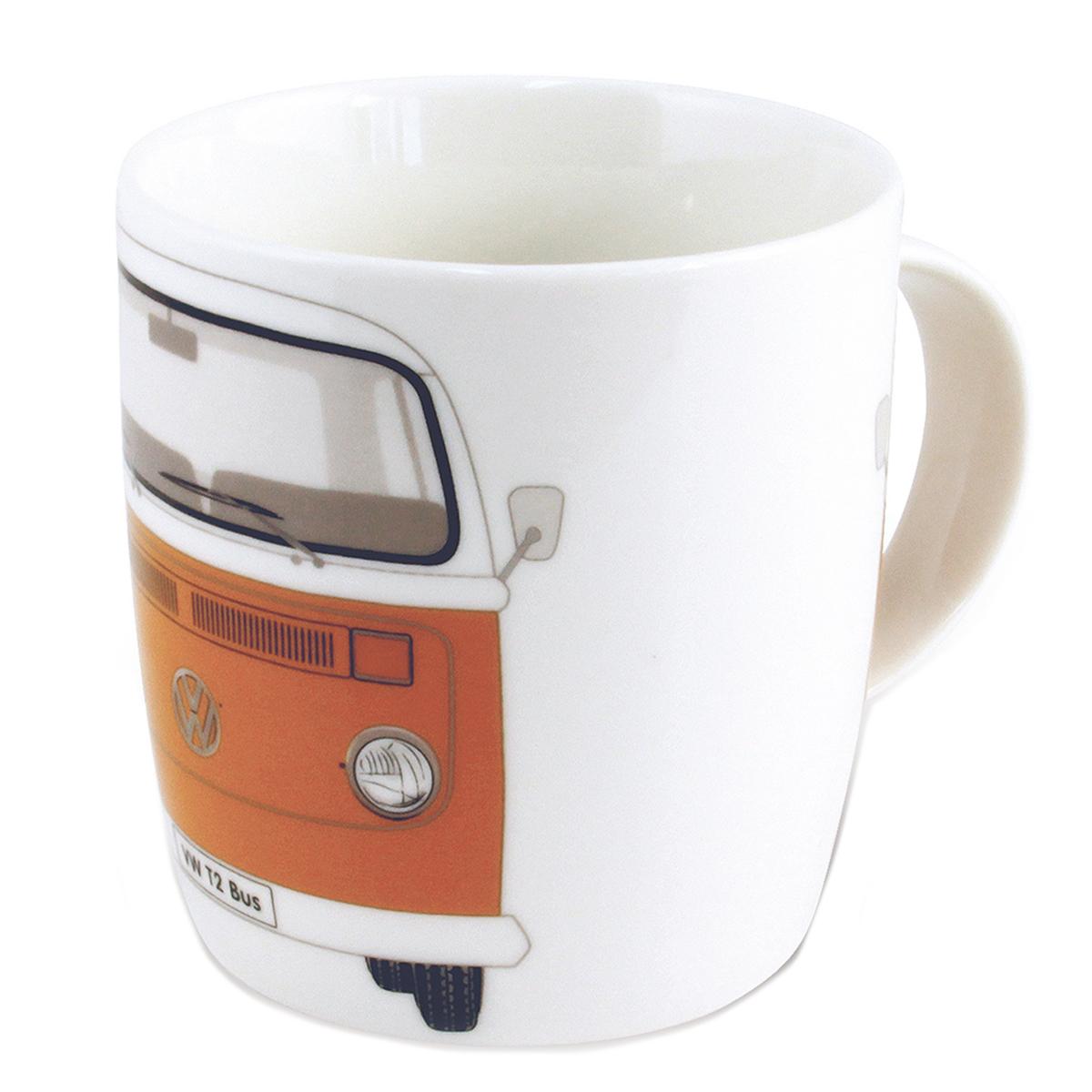 Mug porcelaine \'Volkswagen\' orange vintage - 93x85 mm (37 cl) - [Q1839]