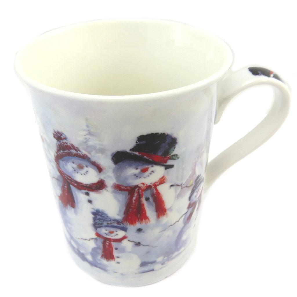 Mug porcelaine \'Bonhomme de Neige\' blanc gris - 10x72 cm - [P5217]