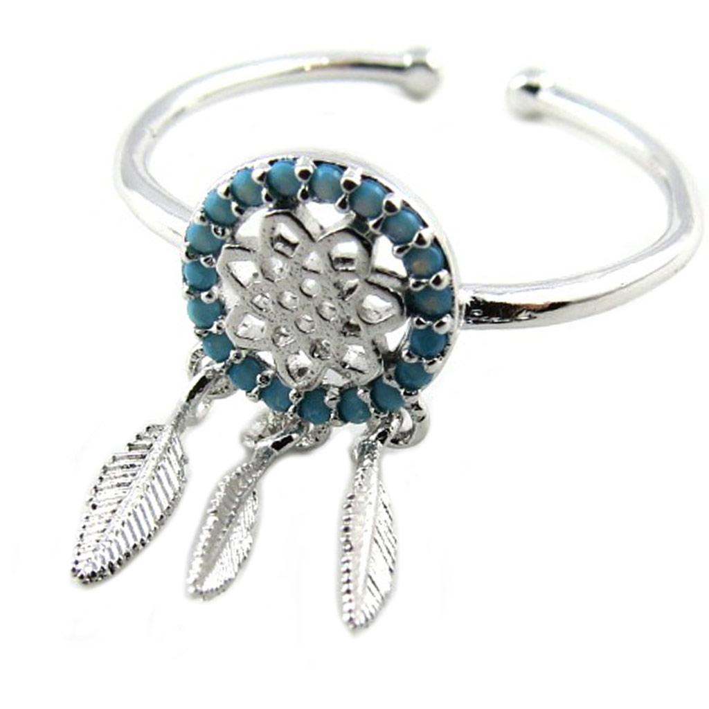 Bague artisanale \'Boho\' turquoise argenté (dreamcatcher) - 13x8 mm - [P8346]