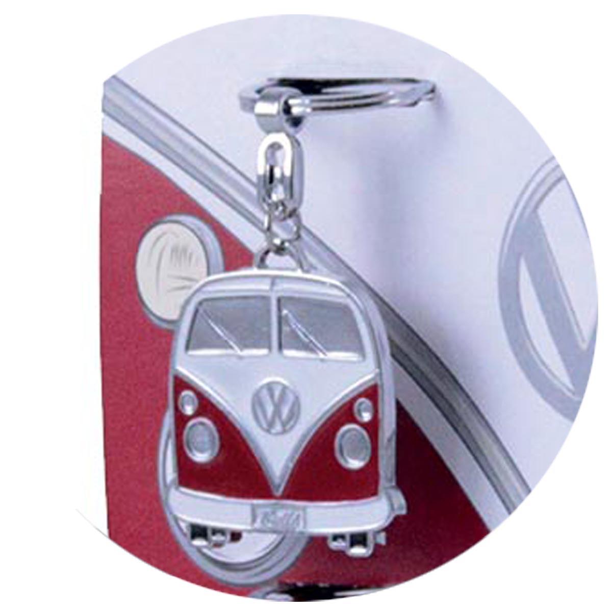 Porte-clés créateur \'Volkswagen\' rouge (combi van bus) - 10x4 cm - [R0584]