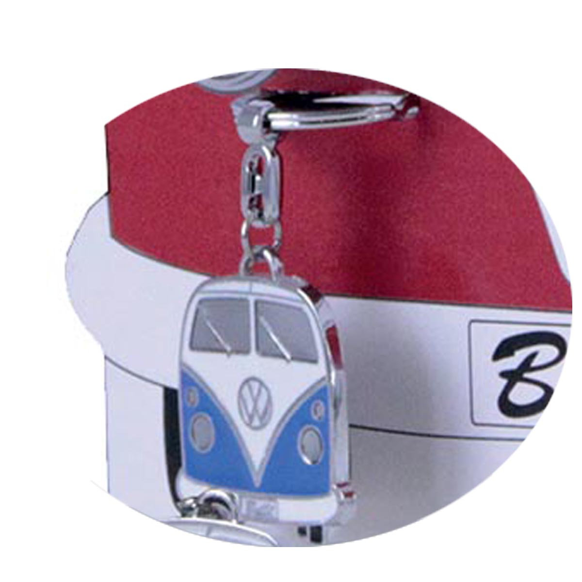 Porte-clés créateur \'Volkswagen\' bleu (combi van bus) - 10x4 cm - [R0585]