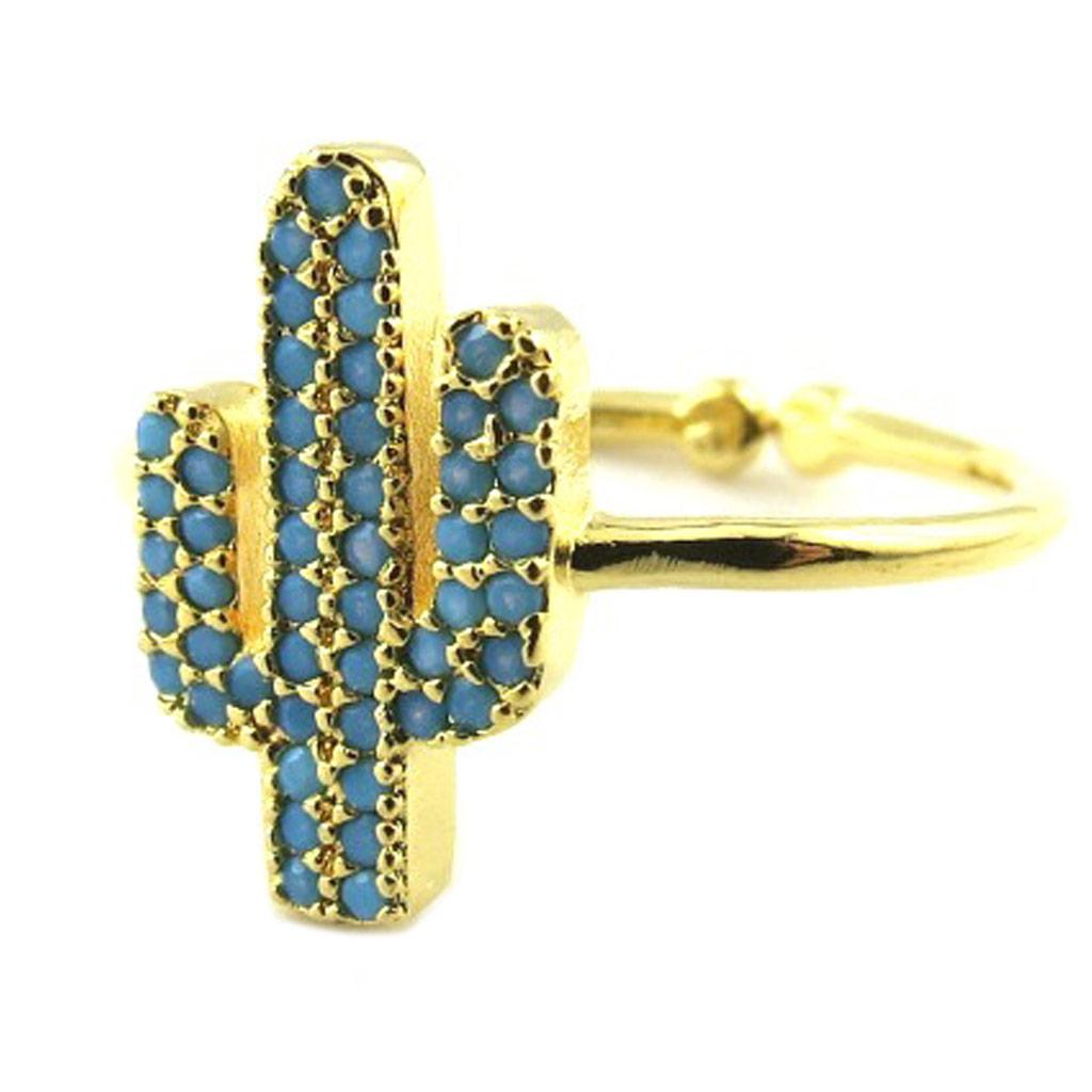 Bague artisanale \'Cactus\' turquoise doré - 14x8 mm - [P8348]