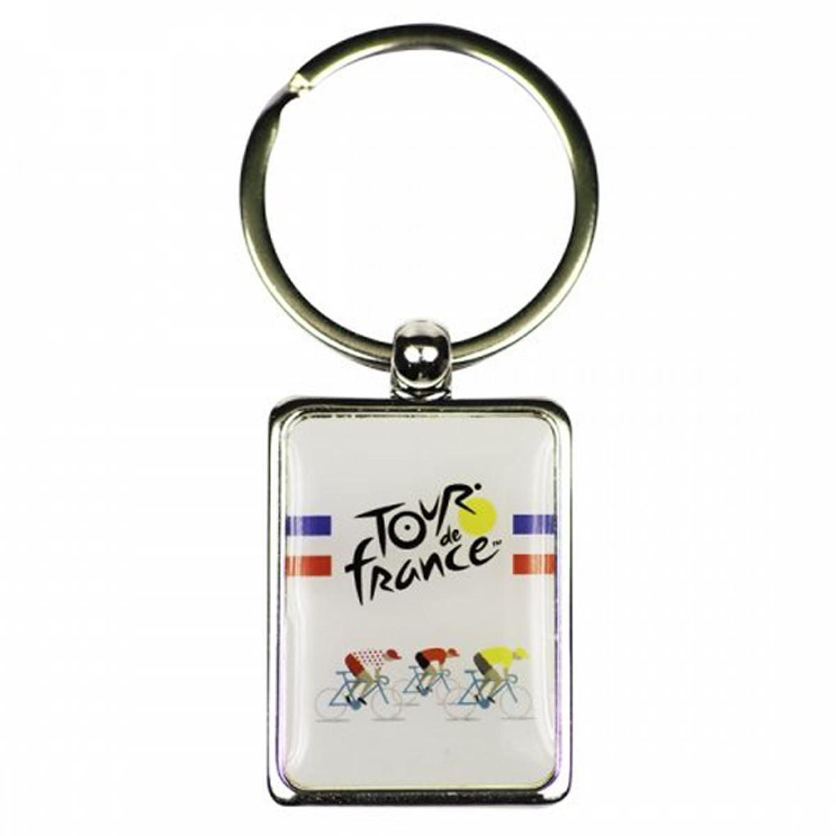 Porte-Clés \'Tour de France\' blanc multicolore - 33x23 mm - [R1890]