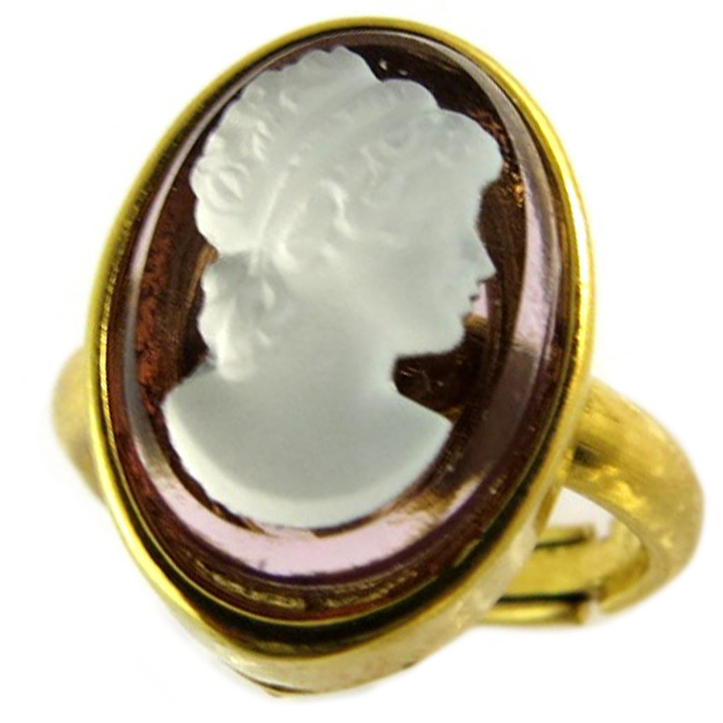 Bague artisanale \'Divine Camée\' améthyste doré - 15x11 mm - [P1635]