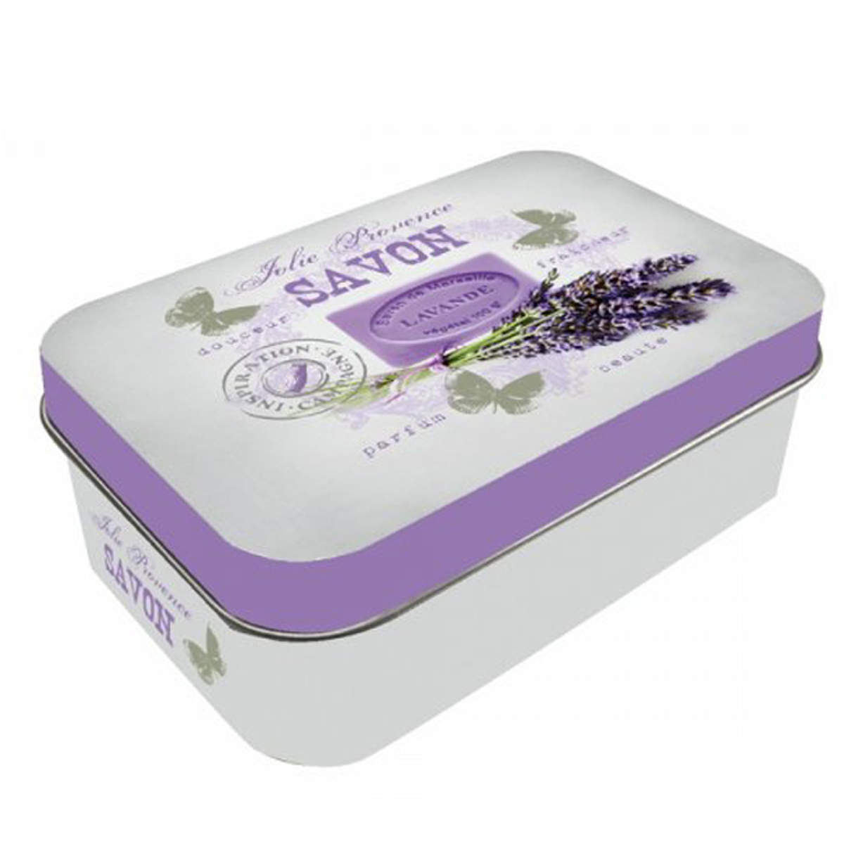 Boite métal \'Lavande de Provence\' violet - 10x65x25 cm - [R1892]