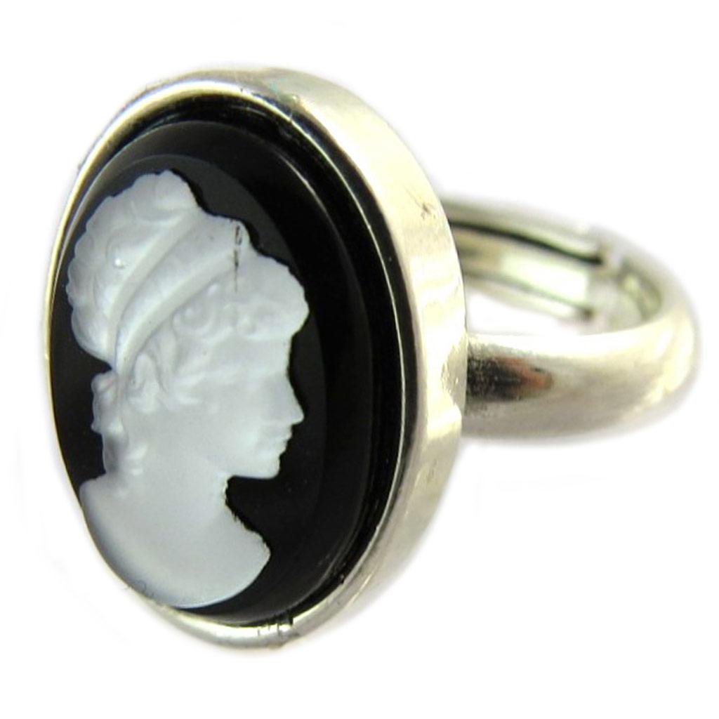 Bague artisanale \'Divine Camée\' noir blanc argenté - 15x11 mm - [P1636]
