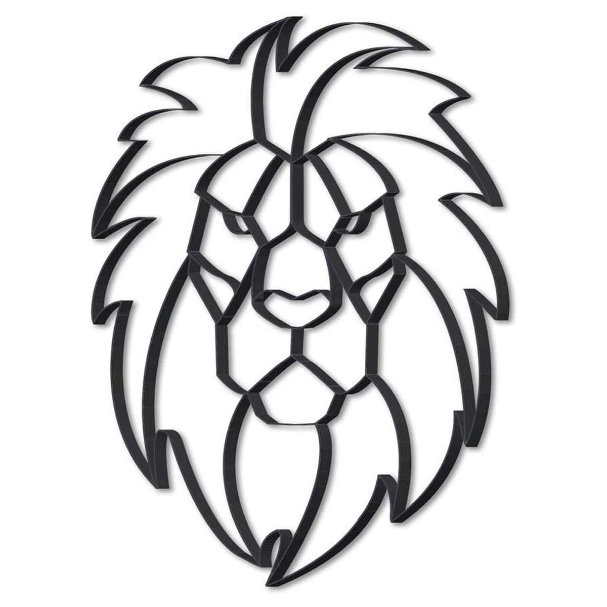 Décoration métal XXL \'Lion\' noir - 815x615x25 cm - [R0592]