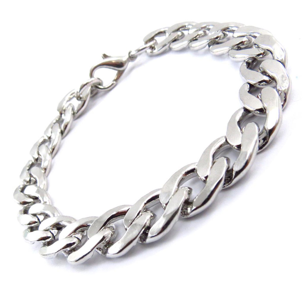 Bracelet \'Maille Gourmette\' Argenté  - [J6341]