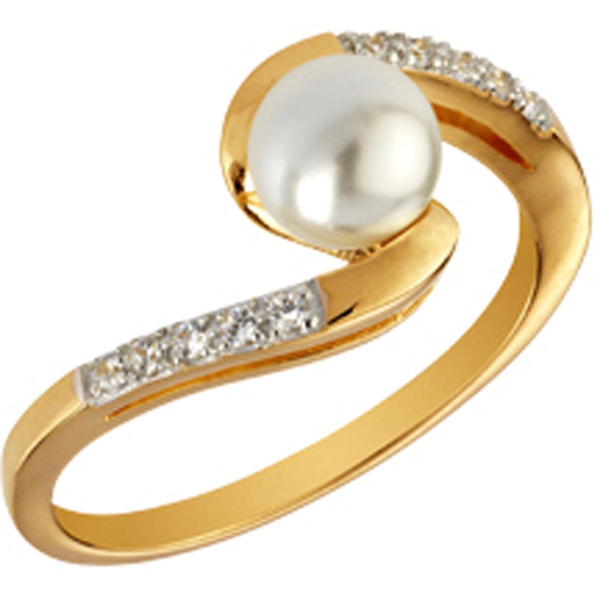 Bague plaqué or \'Sissi\' ivoire doré - perle 6 mm - [Q4834]