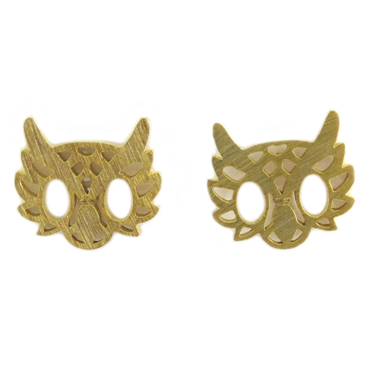 Boucles artisanales \'Hibou\' doré - 12x11 mm - [Q6181]