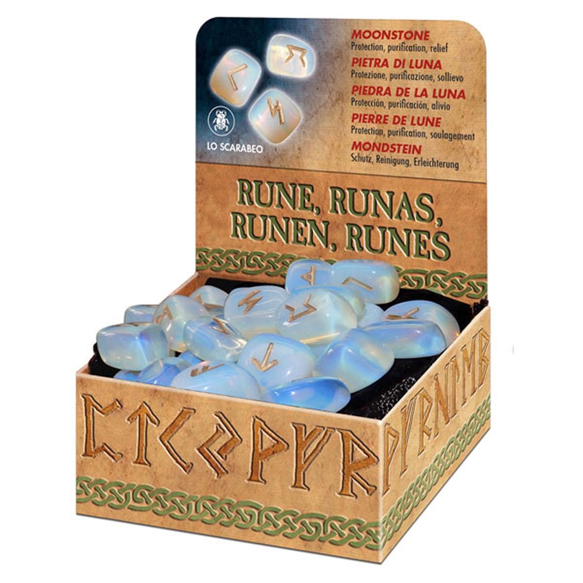 Coffret \'Runes\' pierre de lune (protection, purification, soulagement) - [R0595]