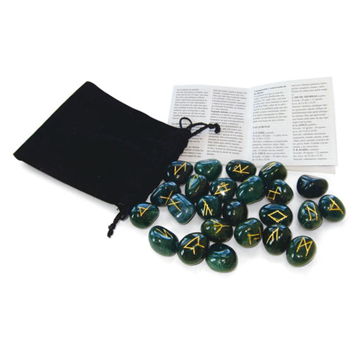 Coffret \'Runes\' vert (bloodstone - héliotrope) - (protection, purification, énergie) - [R0597]