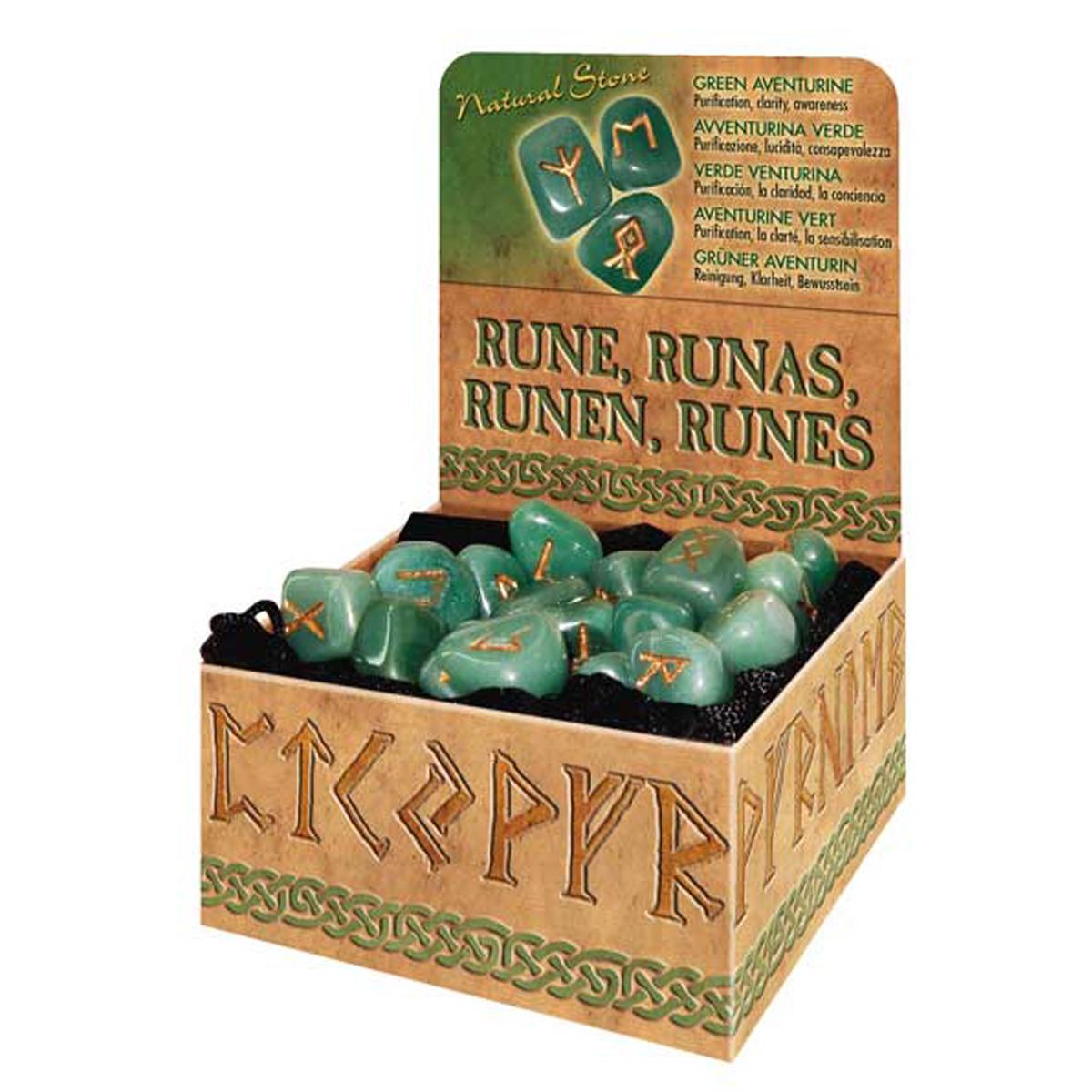 Coffret \'Runes\' aventurine (purification, clarté, sensibilisation) - [R0598]