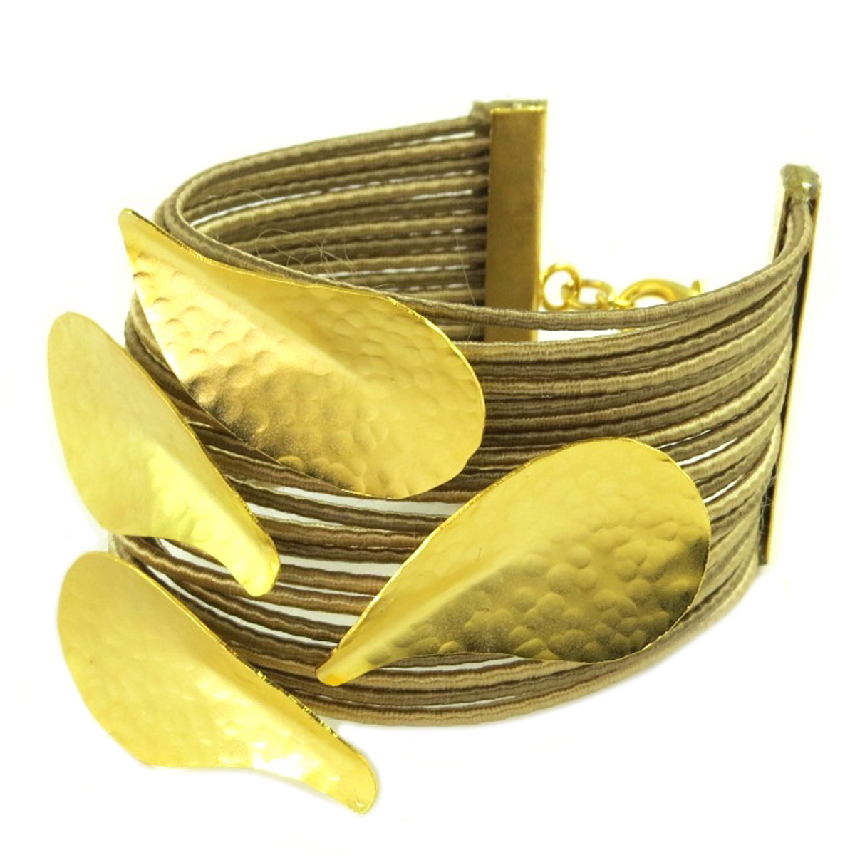 Bracelet artisanal \'Athena\' doré taupe - 70x55 mm - [Q7864]