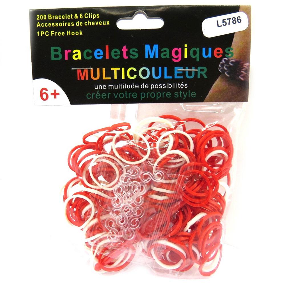 \'Looms\' ou \'bracelets magiques\' rouge blanc - [L5786]