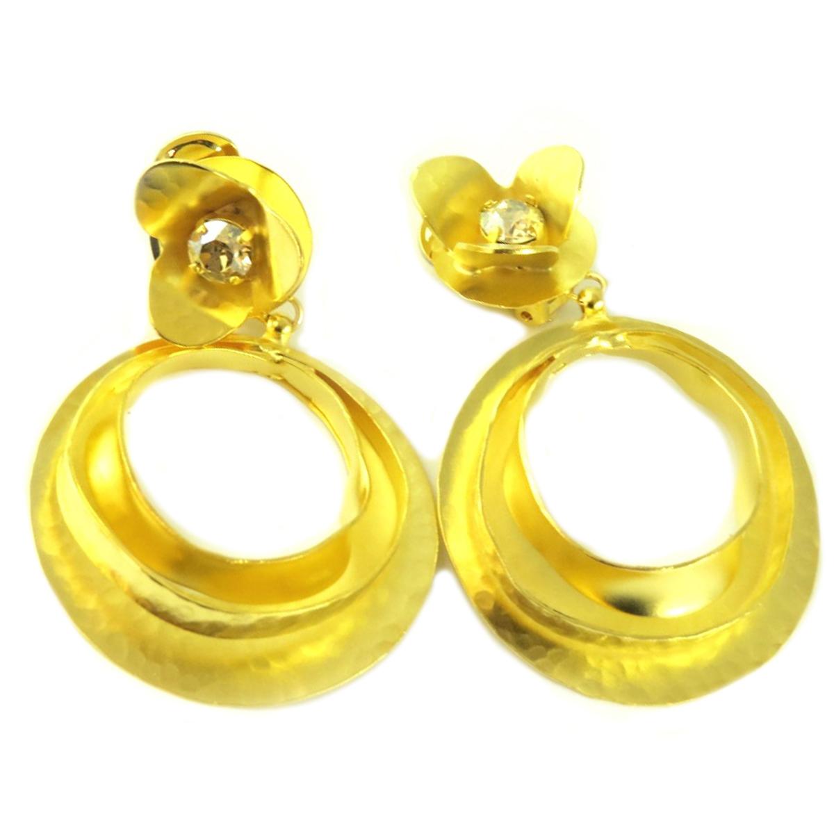 Boucles d\'oreilles clips artisanales \'Athena\' champagne doré - 80x50 mm - [Q7868]