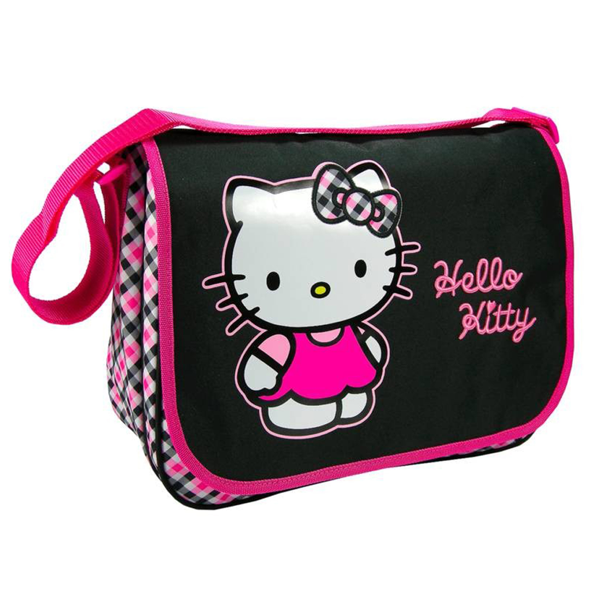 Sac besace A4 \'Hello Kitty\' noir rose (2 compartiments) - 36x27x11 cm - [J6500]