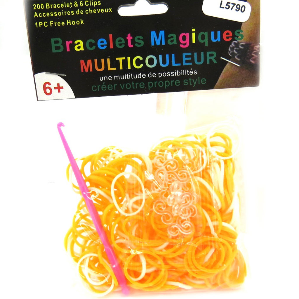 \'Looms\' ou \'bracelets magiques\' orange blanc - [L5790]