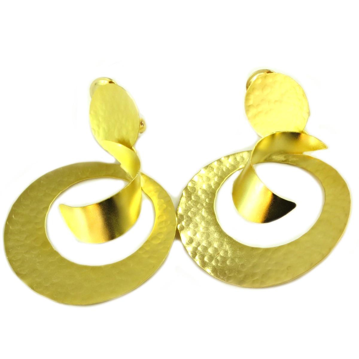 Boucles d\'oreilles clips artisanales \'Athena\' doré - 75x50 mm - [Q7869]