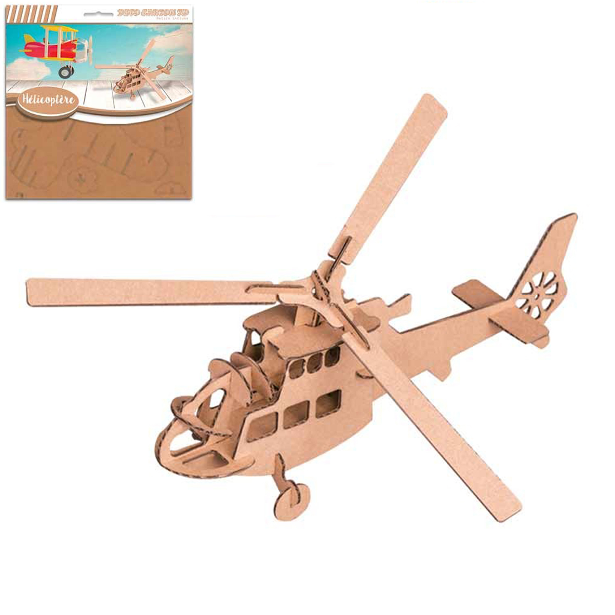 Figurine carton 3D \'Helicoptère\' - planches 165x175 cm - [Q9219]