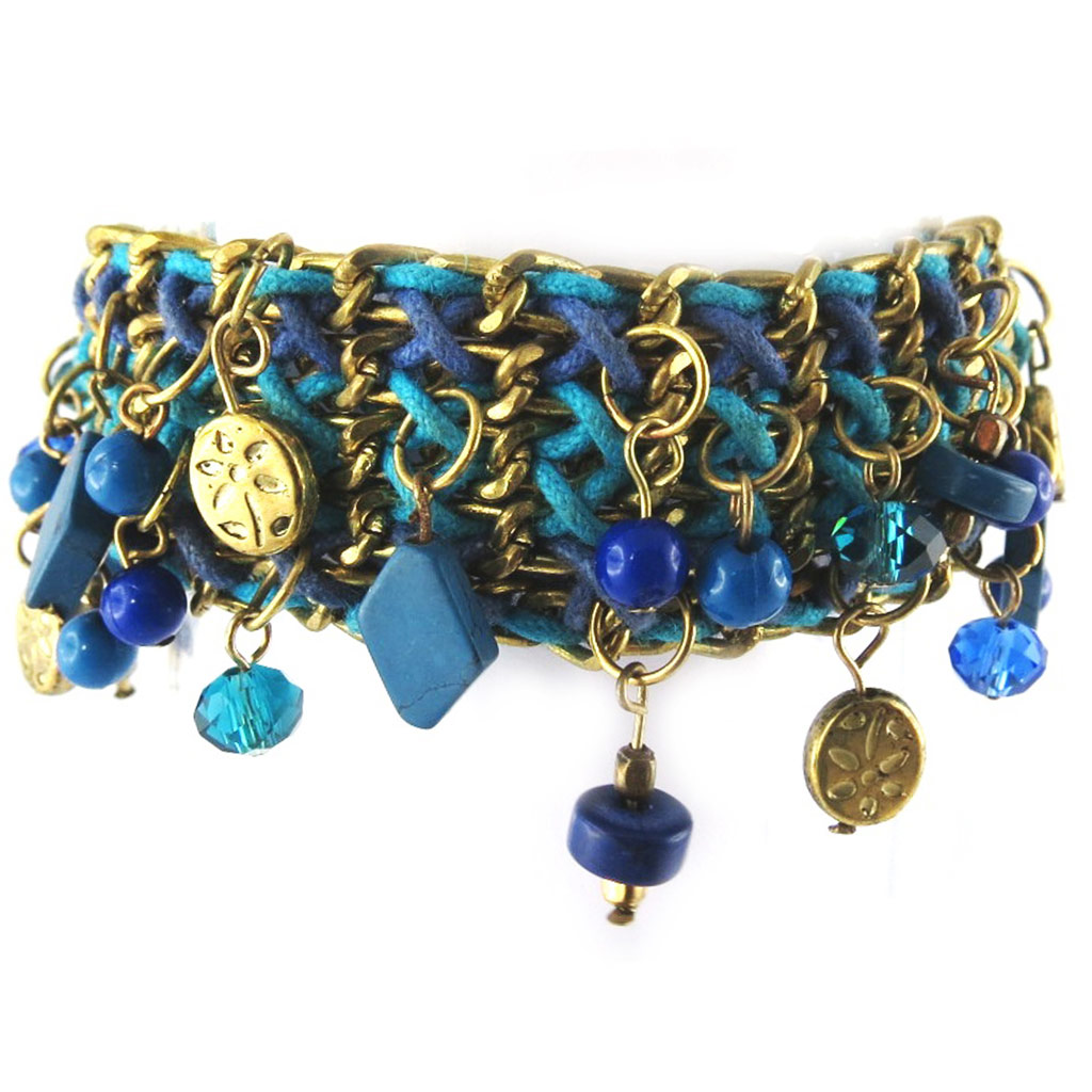 Bracelet ethnique \'Kilimanjaro\' turquoise (3 rangs) - [L5792]