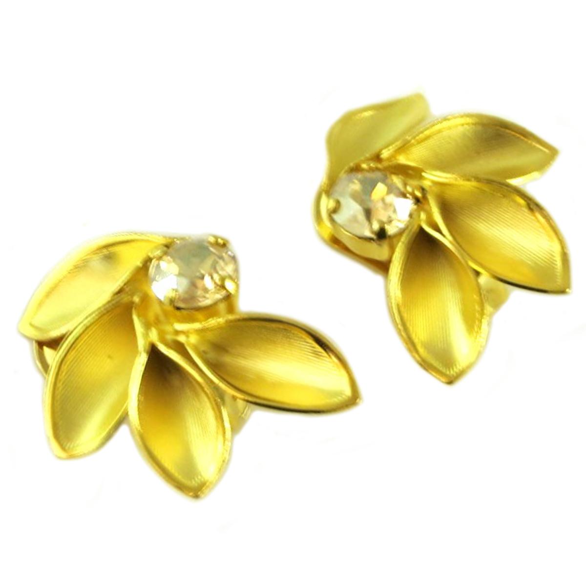 Boucles d\'oreilles clips artisanales \'Athena\' champagne doré - 35x24 mm - [Q7874]