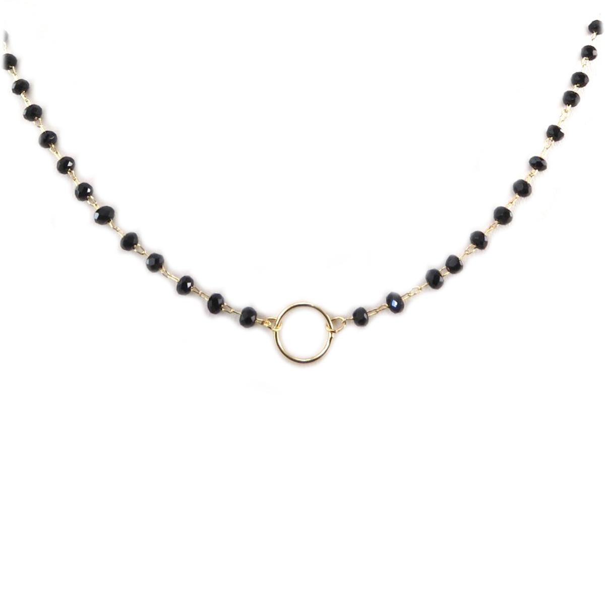Collier artisanal \'Boho\' noir doré - 9 mm - [Q6195]